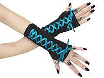 Rukavice - Dámské gothic rukavice so šnurovaní 0295 (Šedá) - 11320164_