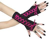 Rukavice - Dámské gothic rukavice so šnurovaní 0295 (Šedá) - 11320165_