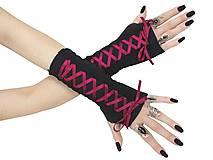 Rukavice - Dámské gothic rukavice so šnurovaní 0295 (Šedá) - 11320166_