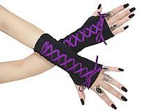 Rukavice - Dámské gothic rukavice so šnurovaní 0295 (Šedá) - 11320167_
