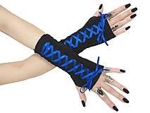 Rukavice - Dámské gothic rukavice so šnurovaní 0295 (Šedá) - 11320169_