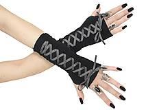 Rukavice - Dámské gothic rukavice so šnurovaní 0295 (Šedá) - 11320171_
