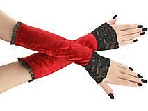 Rukavice - Dámské rukavice zamatové červené s čipkou 01T - 11320367_