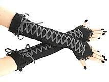 Rukavice - čipkové rukavičky modro čierné 01S (Biela) - 11320464_