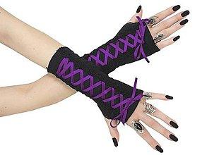 Rukavice - Dámské gothic rukavice so šnurovaní 0295 (Biela) - 11320167_