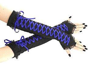 Rukavice - čipkové rukavičky modro čierné 01S - 11320466_