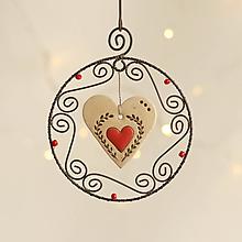 Dekorácie - vianočná dekorácia srdiečko - 11316440_