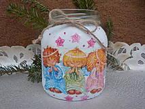 Svietidlá a sviečky - Vianočný pohár-anieličkovia - 11318631_