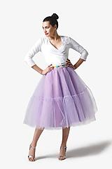 Tylová sukňa Midi lila s volánmi