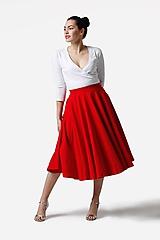 Sukne - Sukňa kruhová midi červená - 11319337_