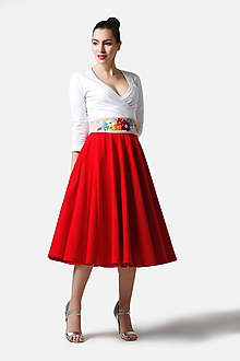 Sukne - Sukňa kruhová midi červená (40) - 11319338_