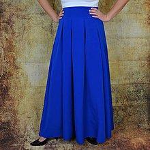 Sukne - Dlhá, spoločenská, maxi sukňa po zem, modrá, horčicvá, čierna, bordová (Modrá) - 11319050_