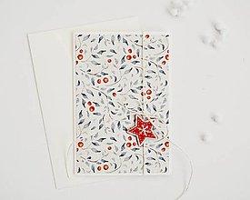 Papiernictvo - Vianočný pozdrav - lístky s plodmi (Hviezdička) - 11317476_