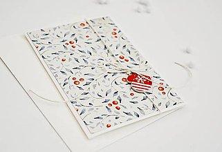 Papiernictvo - Vianočný pozdrav - lístky s plodmi (Rukavička) - 11317481_