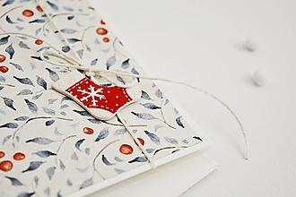 Papiernictvo - Vianočný pozdrav - lístky s plodmi (Ponožka) - 11317484_