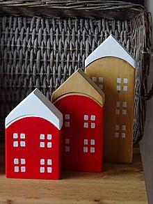 Dekorácie - Domčeky červené - 11316451_