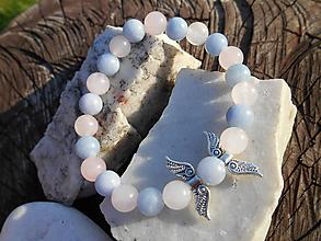 Náramky - rosa and blue náramok-ruženín,jadeit - 11320460_
