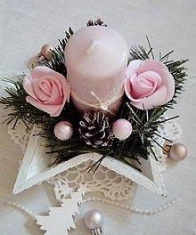 Svietidlá a sviečky - shabby chic vianočný svietnik do ružova - 11318398_