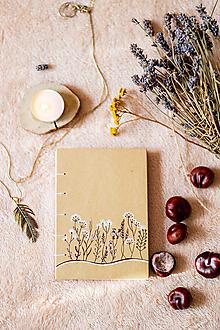Papiernictvo - Zápisník kreslený * ručne šitý * Bylinky A6 - 11315671_