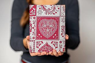 """Papiernictvo - Ručne šitý sketchbook * zápisník A5 ,,FOLK HEART"""" - 11315677_"""