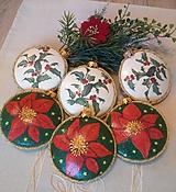 Dekorácie - Vianoce -SADA 6 ks medailónky s vianočnou ružou - 11318313_