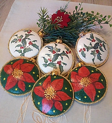 Dekorácie - Vianoce -SADA medailónky s vianočnou ružou - 11318313_