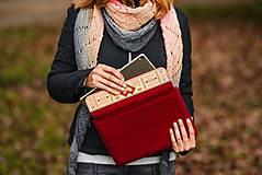 Na notebook - Kožené puzdro na tablet/notebook Folk červené - srdce (na iPad Pro 10.5 (drievko s modrou niťou)) - 11316180_