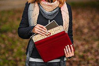 Na notebook - Kožené puzdro na tablet/notebook Folk červené - srdce - 11316180_