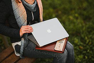 Na tablet - Kožené puzdro na tablet/notebook Folk hnedé - esíčko - 11316390_