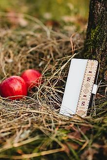 Na mobil - Knižkové puzdro Folk biele - 11316422_