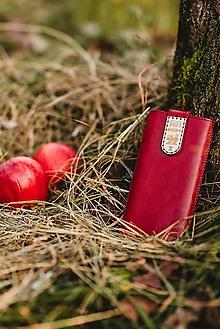 Na mobil - Kožené puzdro na telefón Folk červené - 11316652_
