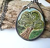Náhrdelníky - Cínový šperk s keramikou - Strom - 11315894_