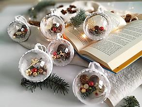 Dekorácie - Vianočné gule 6 ks vianočná klasika - 11318761_