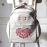 Batohy - Ľanový batoh I ❤️ folk - 11318100_