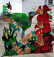 Nábytok - Falošná Vitráž kolibrik - 11318867_
