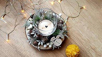 Svietidlá a sviečky - Zimný vianočný svietnik - 11315850_