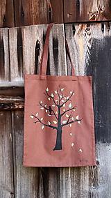 Nákupné tašky - Plátená taška ručne maľovaná- strom s 3D lístkami - 11317396_