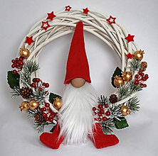 Dekorácie - Venček vianočný s mikulášom - 11318241_