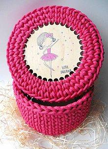 Detské doplnky - Handmade háčkovaný košík z kvalitných šnúr s vrchnákom s maľovaným motívom (detským/dievčenským) - 11318507_