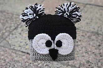 Detské čiapky - čiapočka sovička 0-3m - 11318137_