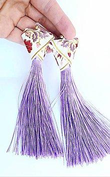 Náušnice - Fialové náušnice zo strapcami - 11317219_