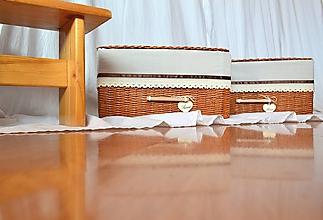 Košíky - Box škoricový SWEET HOME, s poklopom - 11317043_
