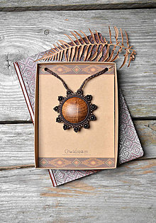 Náhrdelníky - Drevený náhrdelník slnko •Za obzorom• - 11317637_