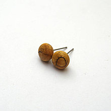 Náušnice - Drevené náušnice napichovacie - špaltované javorové bombuľky - 11318059_