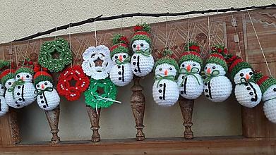 Dekorácie - snehuliačiky vo Vianočných čiapočkách - 11320022_