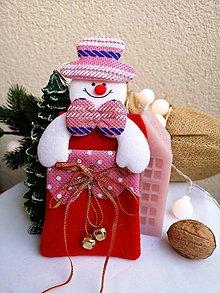 Obalový materiál - Vianočné darčekové vrecúško snehuliak - 11319279_