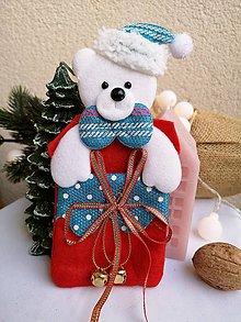 Obalový materiál - Vianočné darčekové vrecúško macko - 11319319_