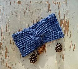 Čiapky - Turban vlnena v odtieni modrej SKLADOM - 11320206_