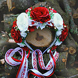 Svadobná parta, čelenka červeno- krémová s troškou zletej, vianočná, na večierok