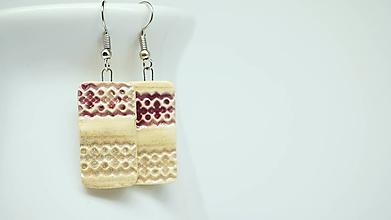 Náušnice - bordové ornamenty - 11321028_